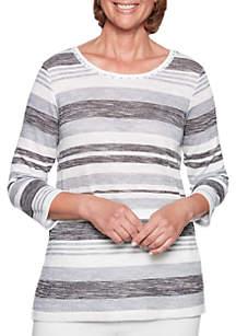 Petite Stocking Stuffers Space Dye Striped Knit Top