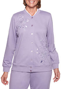 At Ease Embellished Button Front Knit Top