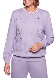 At Ease Sliced Diamond Embellished Knit Top