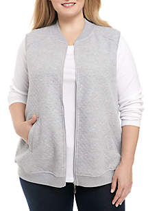 Plus Size At Ease Quilted Knit Vest