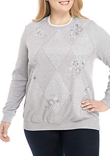 Plus Size Embroidered Knit Sweater