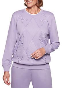 Petite At Ease Sliced Diamond Embellished Knit Sweatshirt