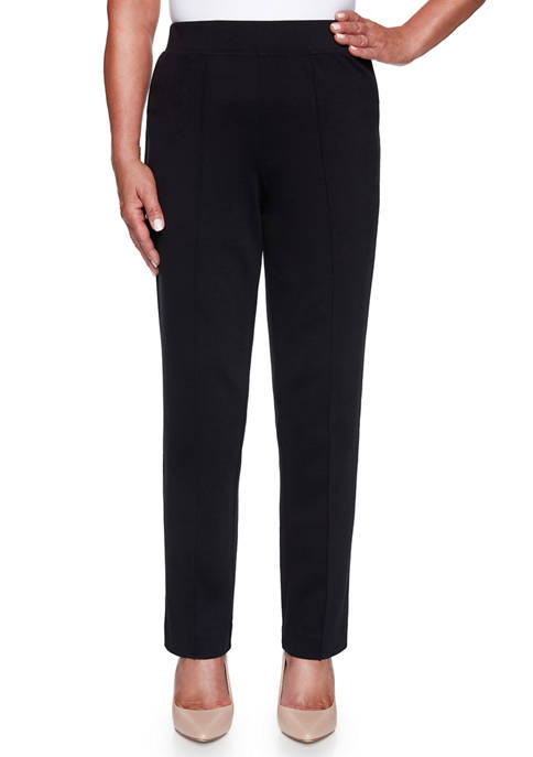 Alfred Dunner Womens Knightsbridge Station Ponte Slim Pants