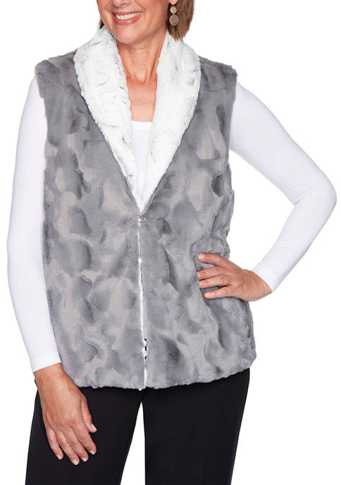 Alfred Dunner Womens Knightsbridge Station Reversible Vest