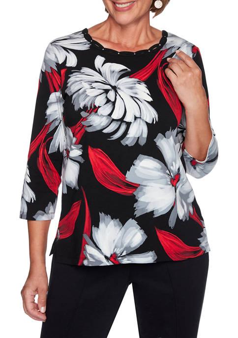 Alfred Dunner Womens Knightsbridge Station Brushstroke Floral Top
