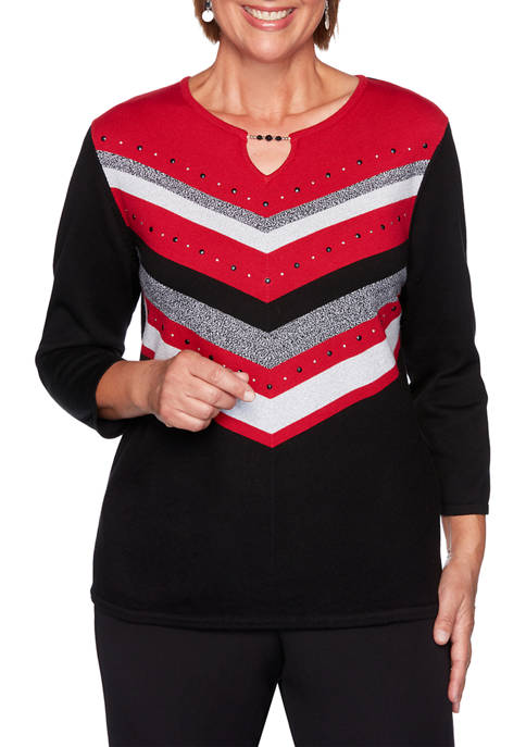 Alfred Dunner Womens Knightsbridge Station Chevron Sweater