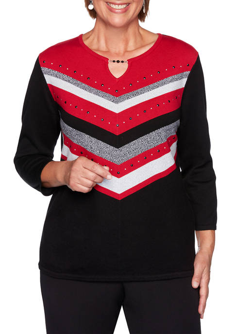 Alfred Dunner Plus Size Knightsbridge Station Chevron Sweater