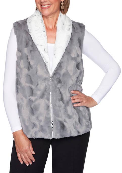 Petite Knightsbridge Station Reversible Faux Fur Vest