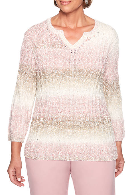 Home for the Holidays Popcorn Textured Biadere Sweater