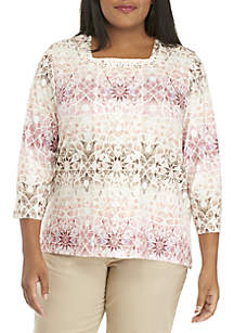 Plus Size Home For The Holidays Mosaic Biadere Knit Top