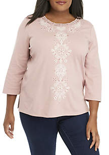 Plus Size Home for the Holidays Diamond Scroll Center Knit Top
