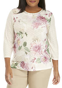 Plus Size Home For The Holidays Textured Floral Knit Top