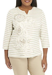 Plus Size Home For The Holidays Applique Floral Stripe Knit Top