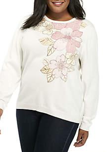 Plus Size Comfortable Situation Asymmetrical Applique Sweater