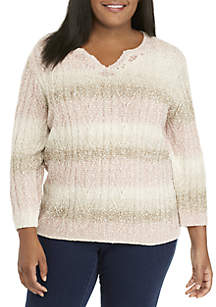 Plus Size Braided Popcorn Texture Sweater