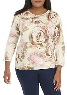 Plus Size Home For The Holidays Roses Shimmer Sweater
