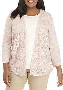 Plus Size Sequin Pointelle 2Fer Sweater