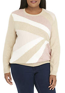 Plus Size Colorblock Gold-Tone Embellished Sweater