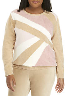 Plus Size Chenille Colorblock Pearl Embellished Sweater