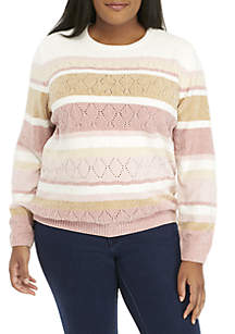 Plus Size Chenille Pearl Embellished Stripe Sweater