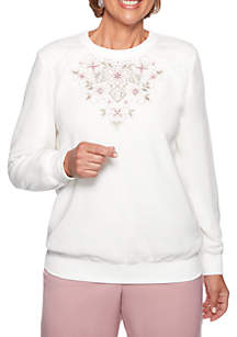 Petite Home for the Holidays Applique Floral Anti-Pill Top