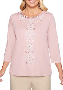 Petite Home for the Holidays Diamond Scroll Center Knit Top