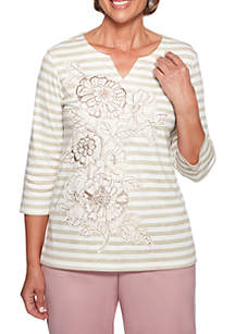 Petite Home for the Holidays Applique Floral Striped Knit Top