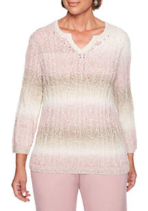 5d18de3fe47 ... Alfred Dunner Petite Home for the Holidays Popcorn Textured Biadere  Sweater