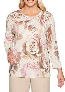 Alfred Dunner Petite Home for the Holidays Roses Shimmer Sweater