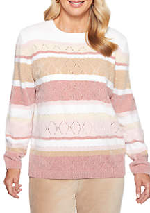 Petite Home for the Holidays Chenille Striped Sweater