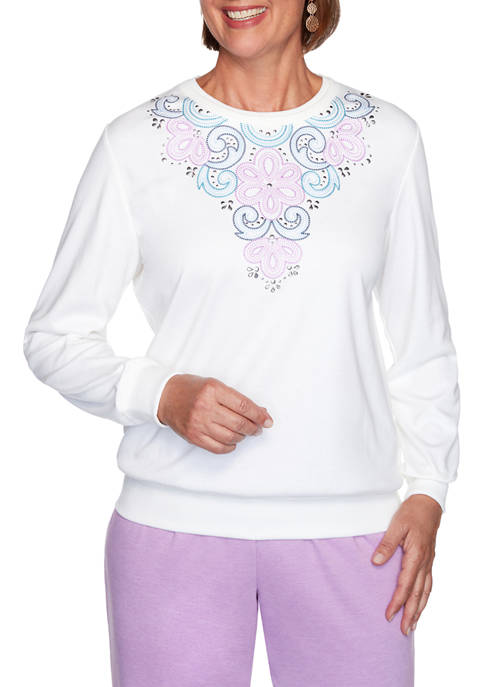 Alfred Dunner Womens Long Weekend Embroidered Yoke Top