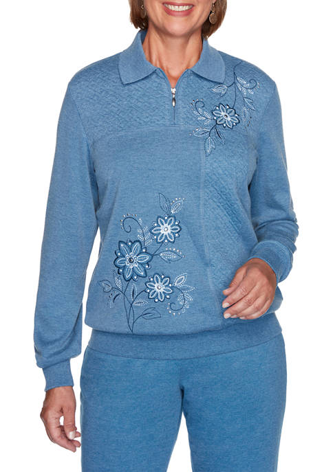Womens Long Weekend Spliced Asymmetric Floral Top