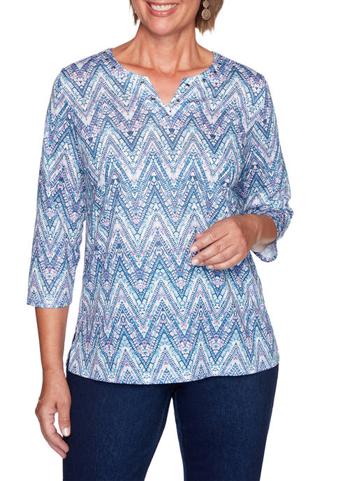 Alfred Dunner Womens Long Weekend Zig Zag Textured
