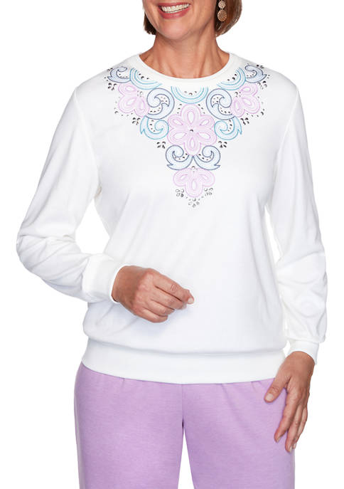 Alfred Dunner Plus Size Long Weekend Embroidered Yoke