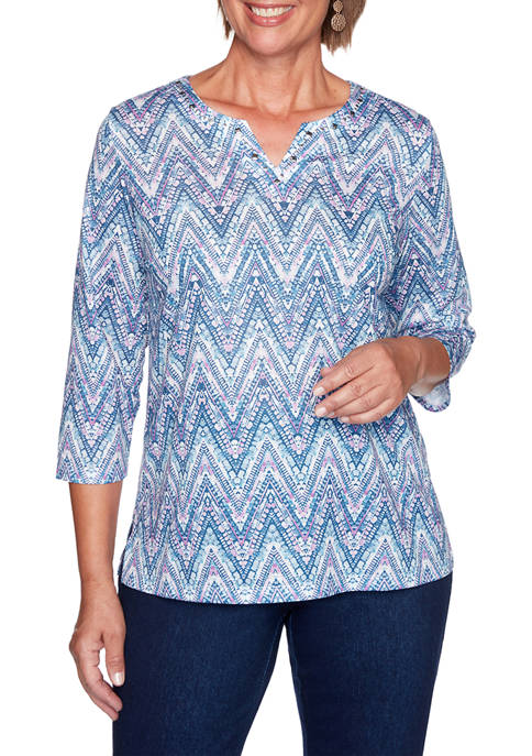 Alfred Dunner Plus Size Long Weekend Zig Zag