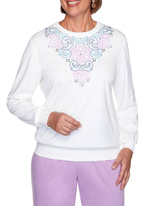 Alfred Dunner Petite Long Weekend Embroidered Yoke Top