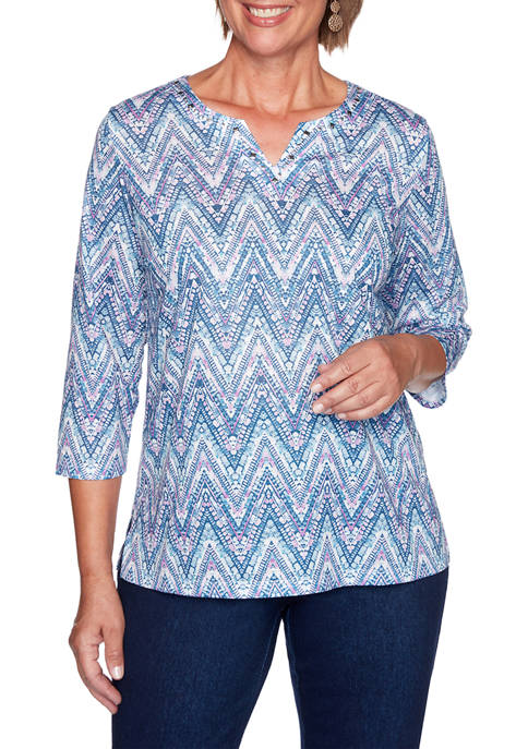 Alfred Dunner Petite Long Weekend Zig Zag Top