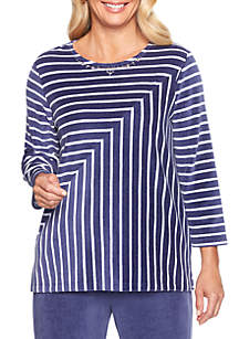 Comfortable Situation Velour Striped Knit Top