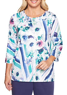 Comfortable Situation Watercolor Floral Knit Top