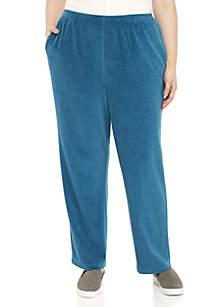 Plus Size Comfortable Situation Velour Medium Pants