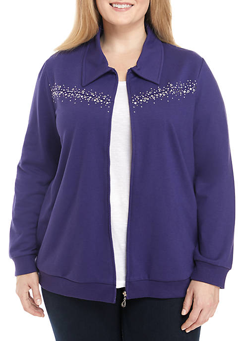 Alfred Dunner Plus Size Studded Jacket