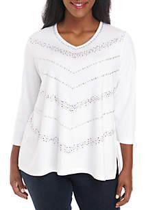 Plus Size Chevron Knit Top