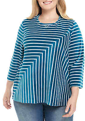 0555a0df77377 Alfred Dunner Plus Size Comfortable Situation Velour Striped Knit Top ...