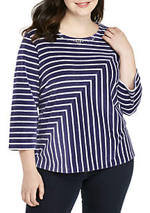 Plus Size Comfortable Situation Velour Striped Knit Top