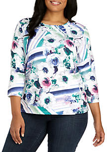 Plus Size Comfortable Situation Watercolor Floral Knit Top