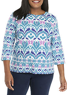 Plus Size Comfortable Situation Scroll Knit Top