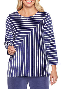 Petite Comfortable Situation Velour Striped Knit Top