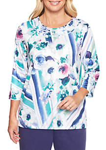 Petite Comfortable Situation Watercolor Floral Knit Top
