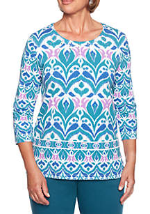 Petite Comfortable Situation Scroll Knit Top