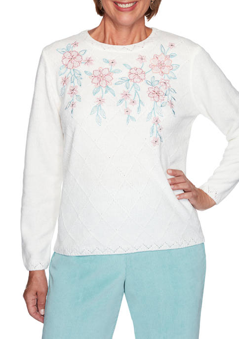 Womens St Moritz Chenille Floral Embroidered Diamond Top